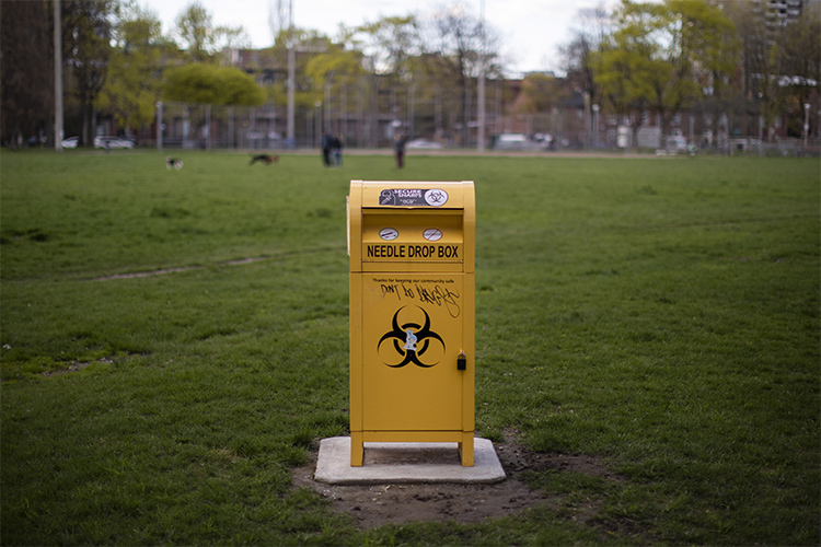 The needle disposal box in the downtown Toronto neighbourhood of Moss Park (photo by Nick Iwanyshyn)