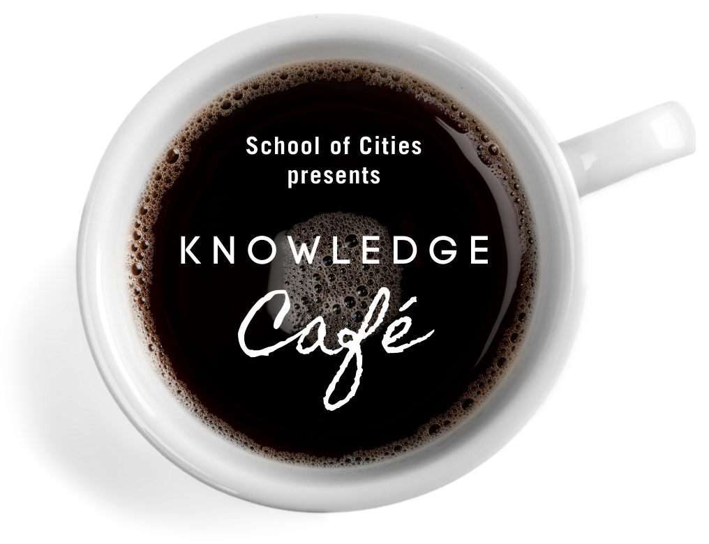 Overhead view of a cup of coffee with the text Knowledge Cafe