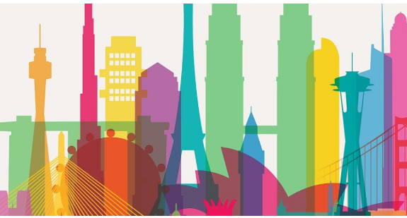 Silhouttes of famous metropoliton buildings in bright colors.