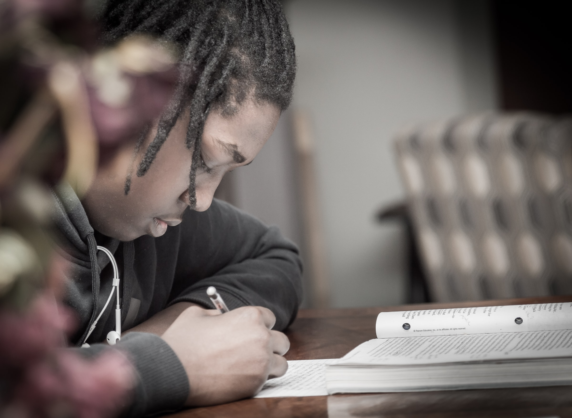 Close-up of a Black male student studying