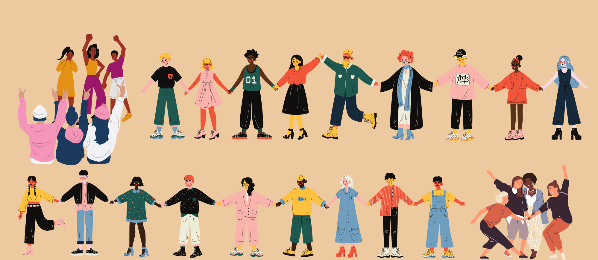A illustrated panel of diverse communities