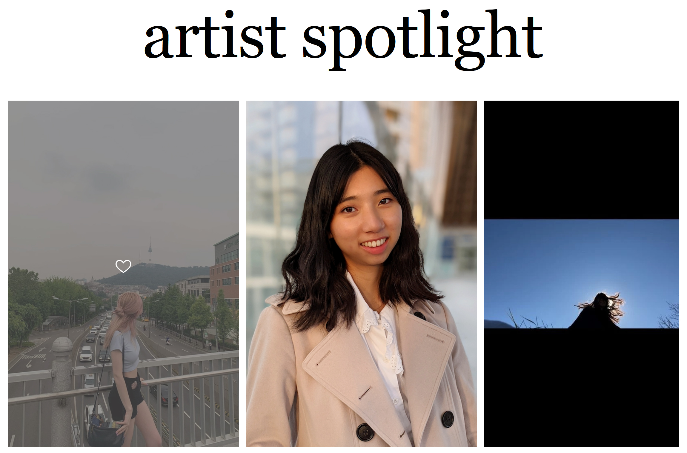 a tryptich of three images with the heading artist spotlight
