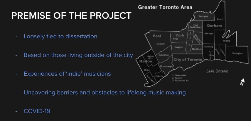 A map of GTA and a image slide sharing the Premise of the Project