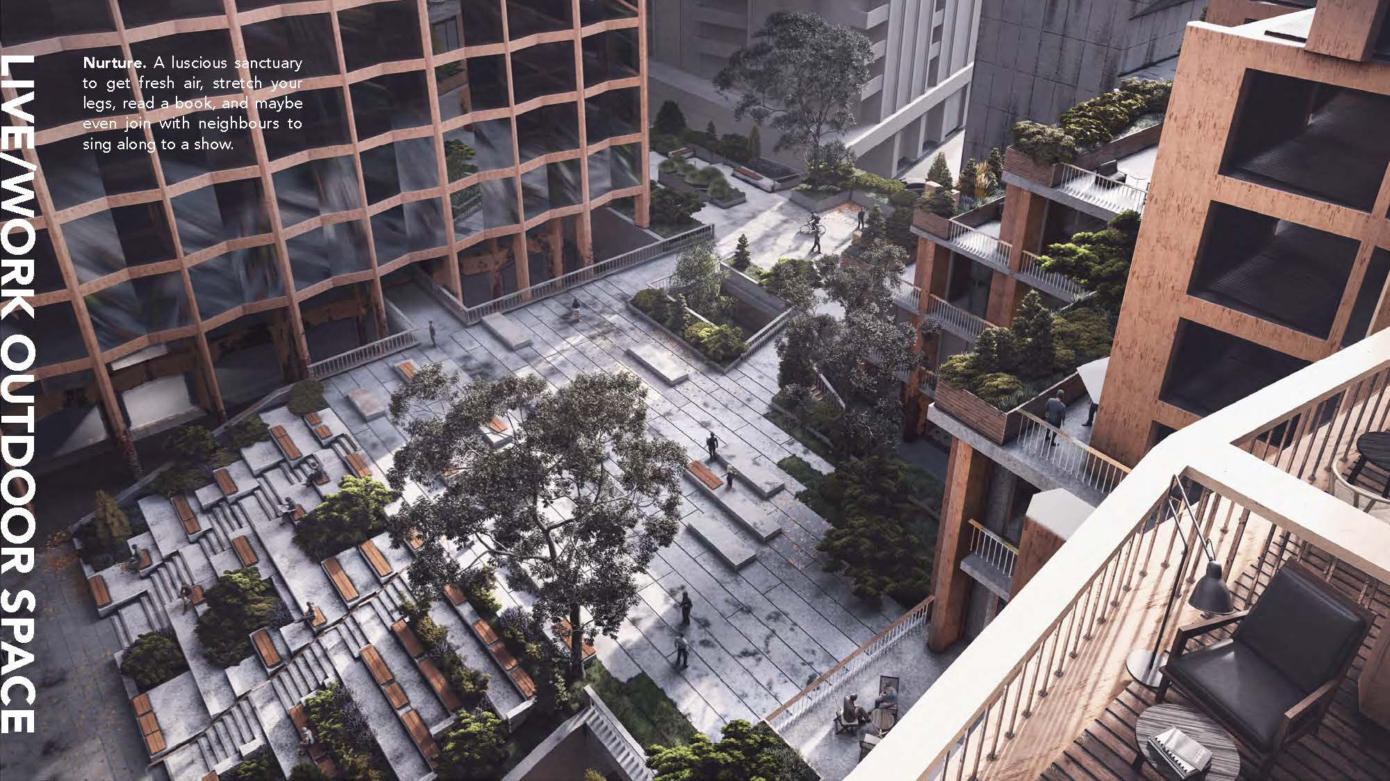 A 3D visualization of live/work outdoor space- a courtyard with steps as benches. seen from a bird's eye view.