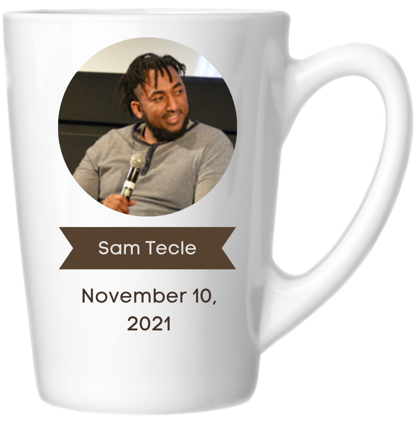 Sam's headshot and date of event on the side of a coffee mug