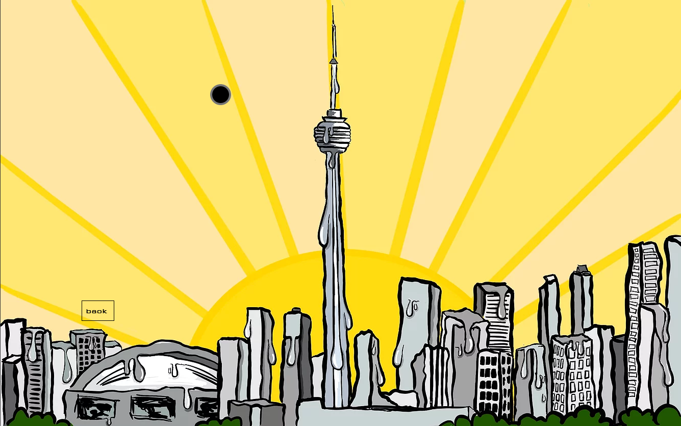 Illustration of Toronto skyline melting, in black and white on a yellow background.