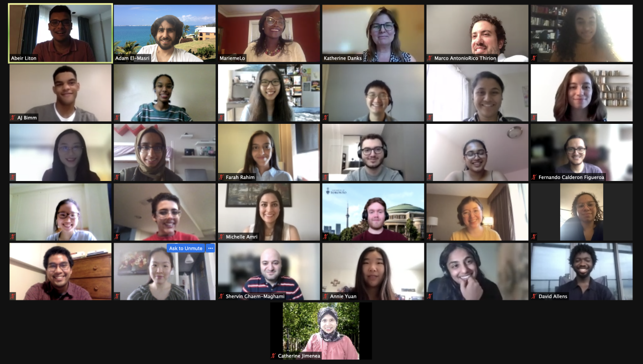 Screenshot of thirty one 2021 fellows and academy members at the Virtual Symposium