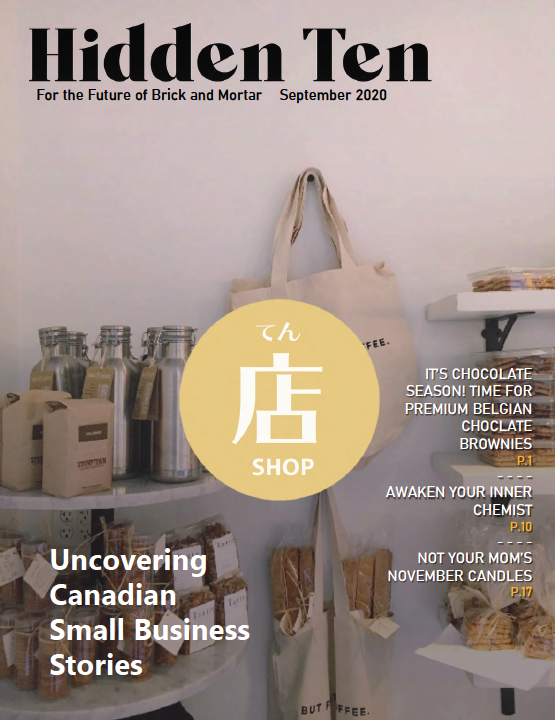 the cover of Hiden Ten Magazine's September issue, featuring a shelf inside a coffee shop