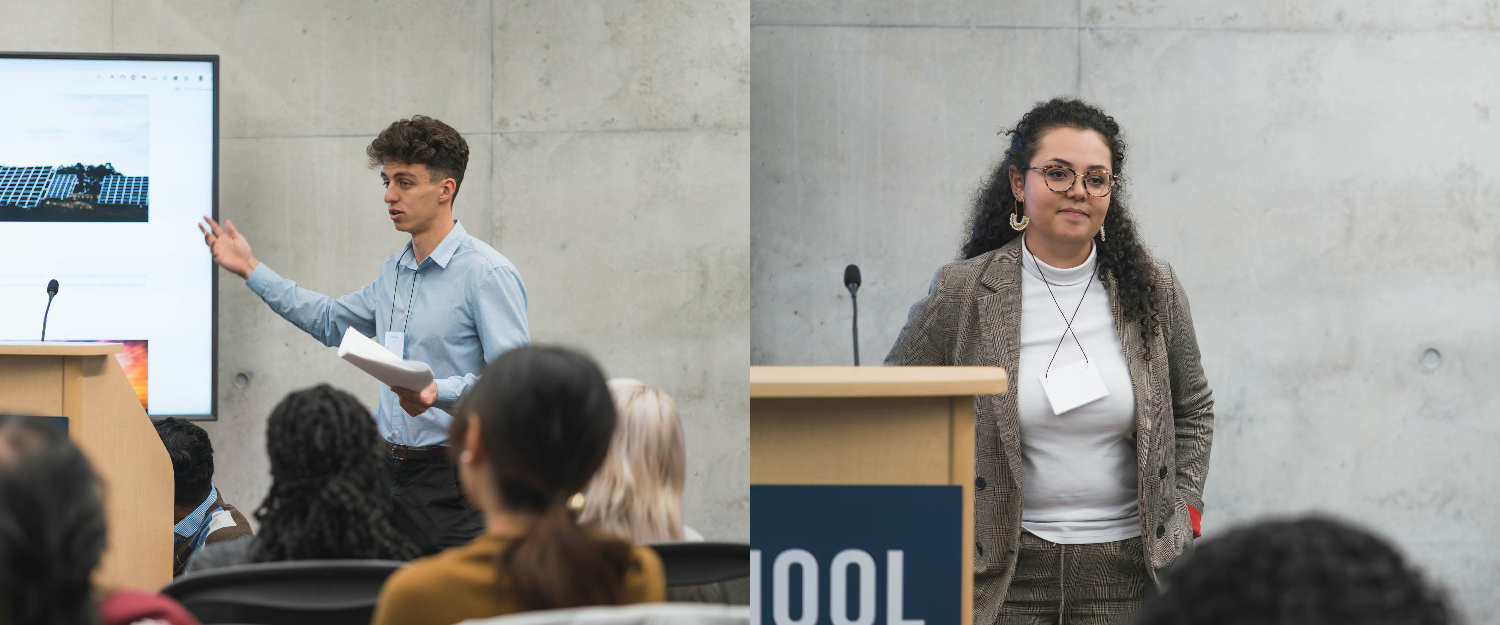 Collage of two 2019 Fellows: Adrien Roy (left) and Linxi Mytkolli (right).