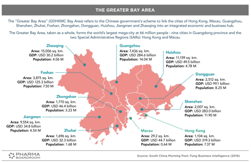 This map shows the 11 cities of China linked by the Chinese government's scheme to link economies of urban cities