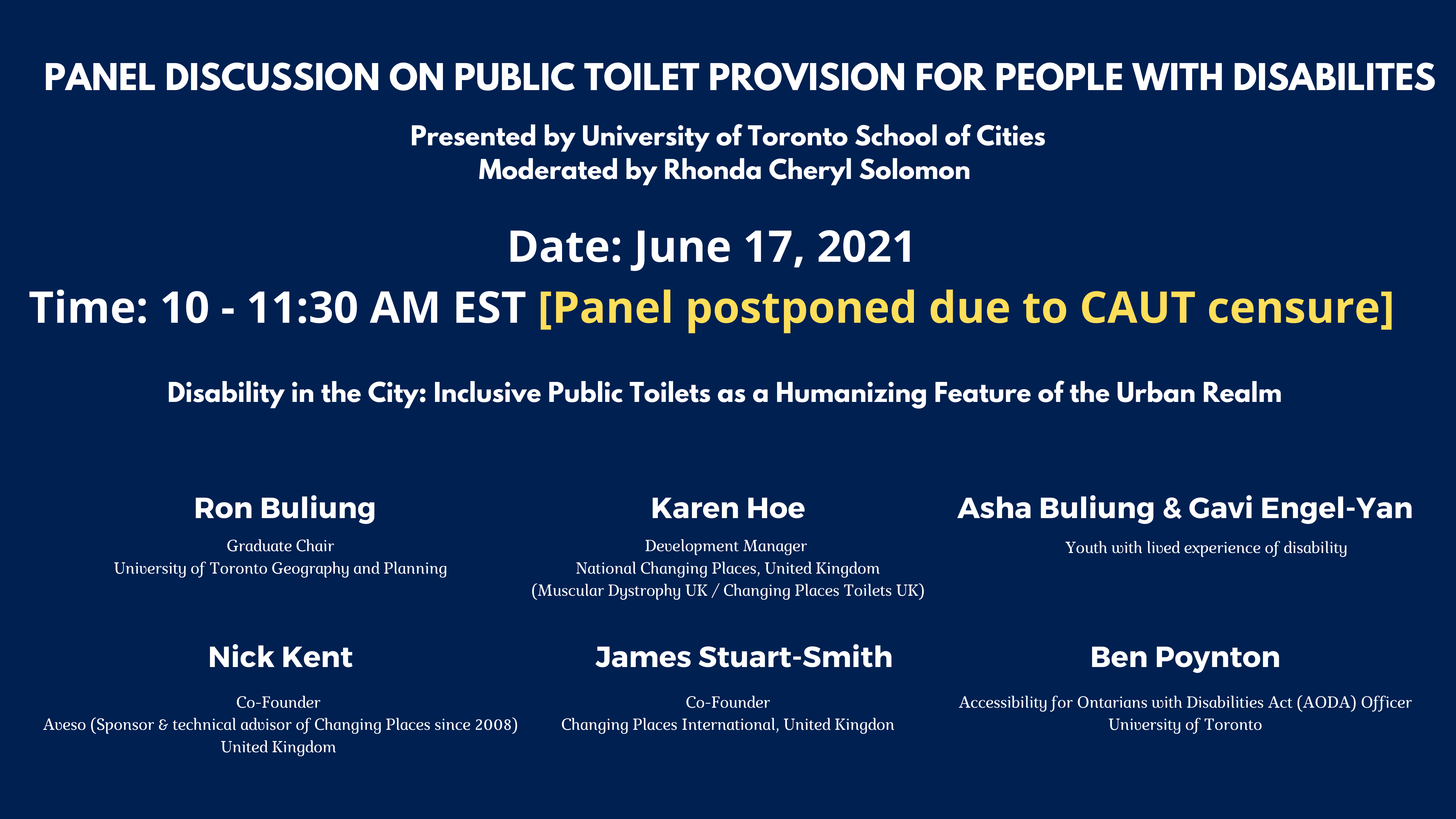 A information notice about the event being postponed due to U of T censure.
