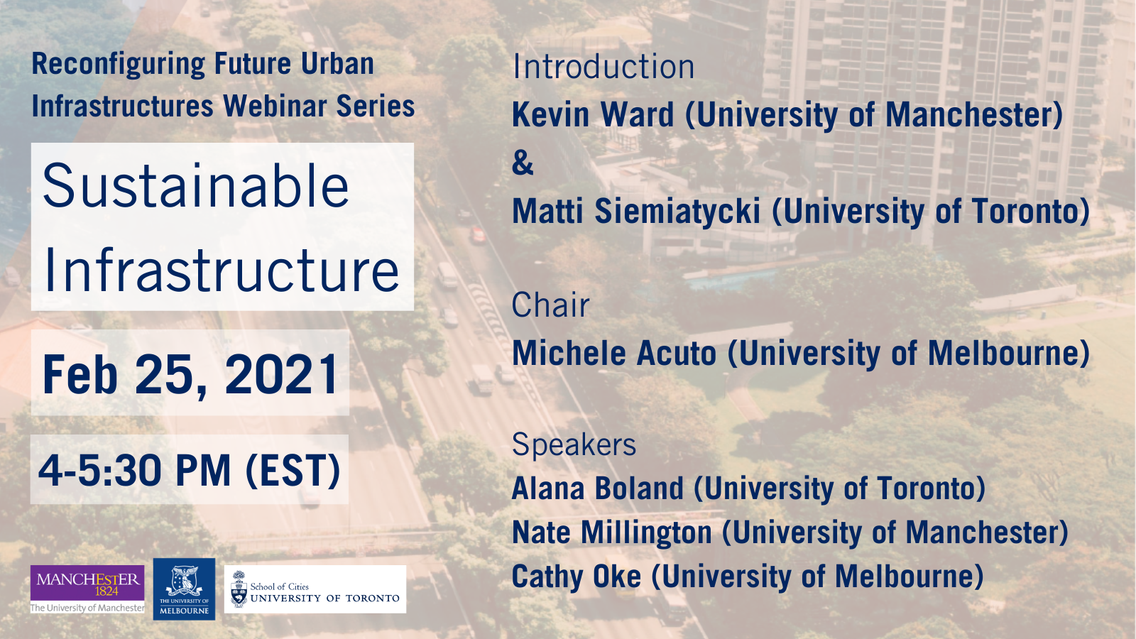 Reconfiguring Future Urban Infrastructures Webinar Series Session 1 Sustainable Infrastructure Info card