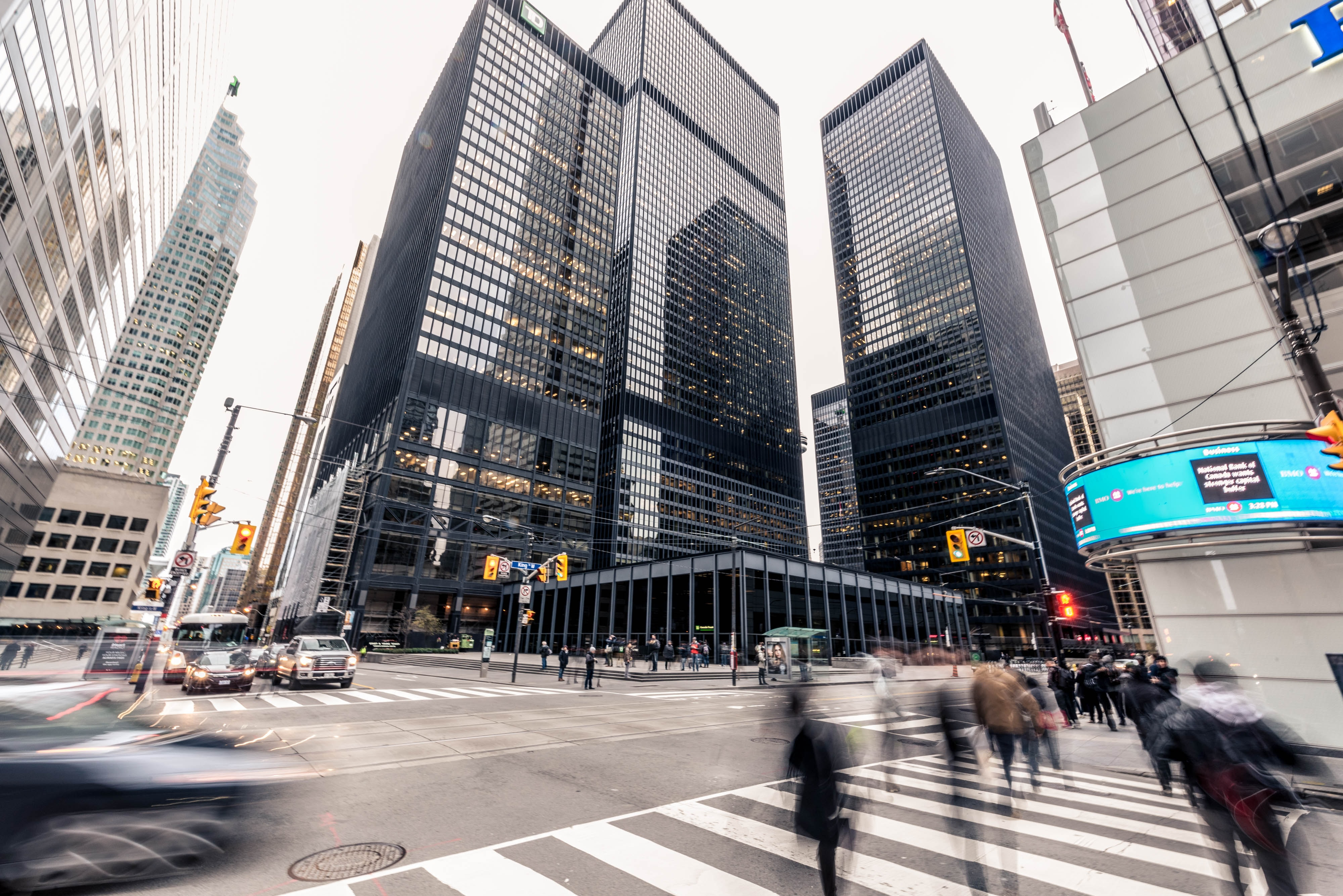 Image of an intersection in the Financial District of Toronto