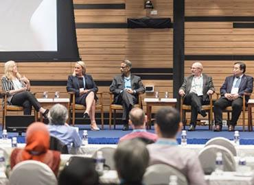 Professor Mark S. Fox (fourth from right), School of Cities Associate Director of Research, at the 'Navigating the Pitfalls and Risks of Smart City Collaborations' panel.