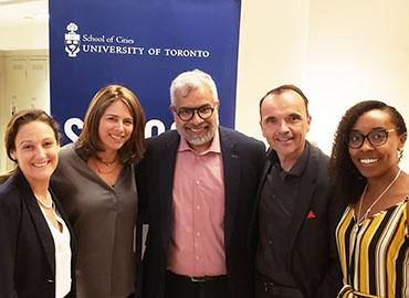 From left, U of T's Lara Muldoon, Shauna Brail and Nouman Ashraf; United Way of Greater Toronto president and CEO Daniele Zanotti; and Nakia Lee-Foon, a PhD candidate at U of T (photo by Nina Haikara)
