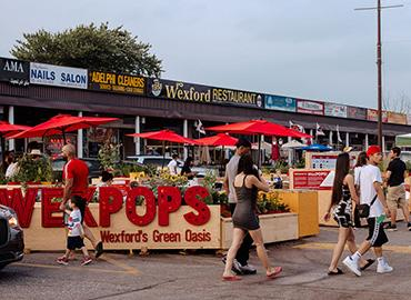 WexPOPS is a pop-up installation in a Scarborough strip mall that is designed to encourage visitors to get to know the community and local businesses (photo by Kat Rizza Photography)