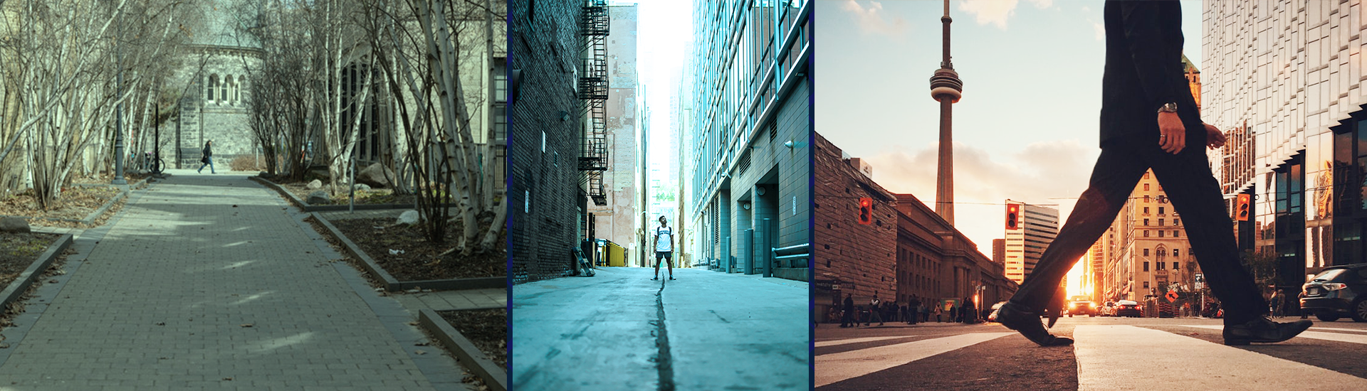 An image showing three parts of downtown Toronto- first with people walking at a distance at UofT, second with a man standing in an alleyway, third with a foot in the foreground, with CN tower in the background
