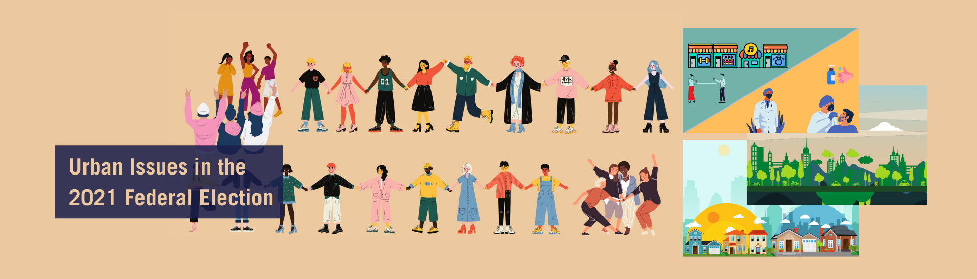Illustration of people from diverse communities and issues of affordable housing, climate resilience and public health that impact them